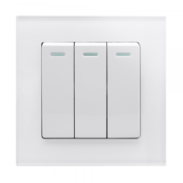 Crystal Pg 3 Gang Rocker Light Switch White Retrotouch